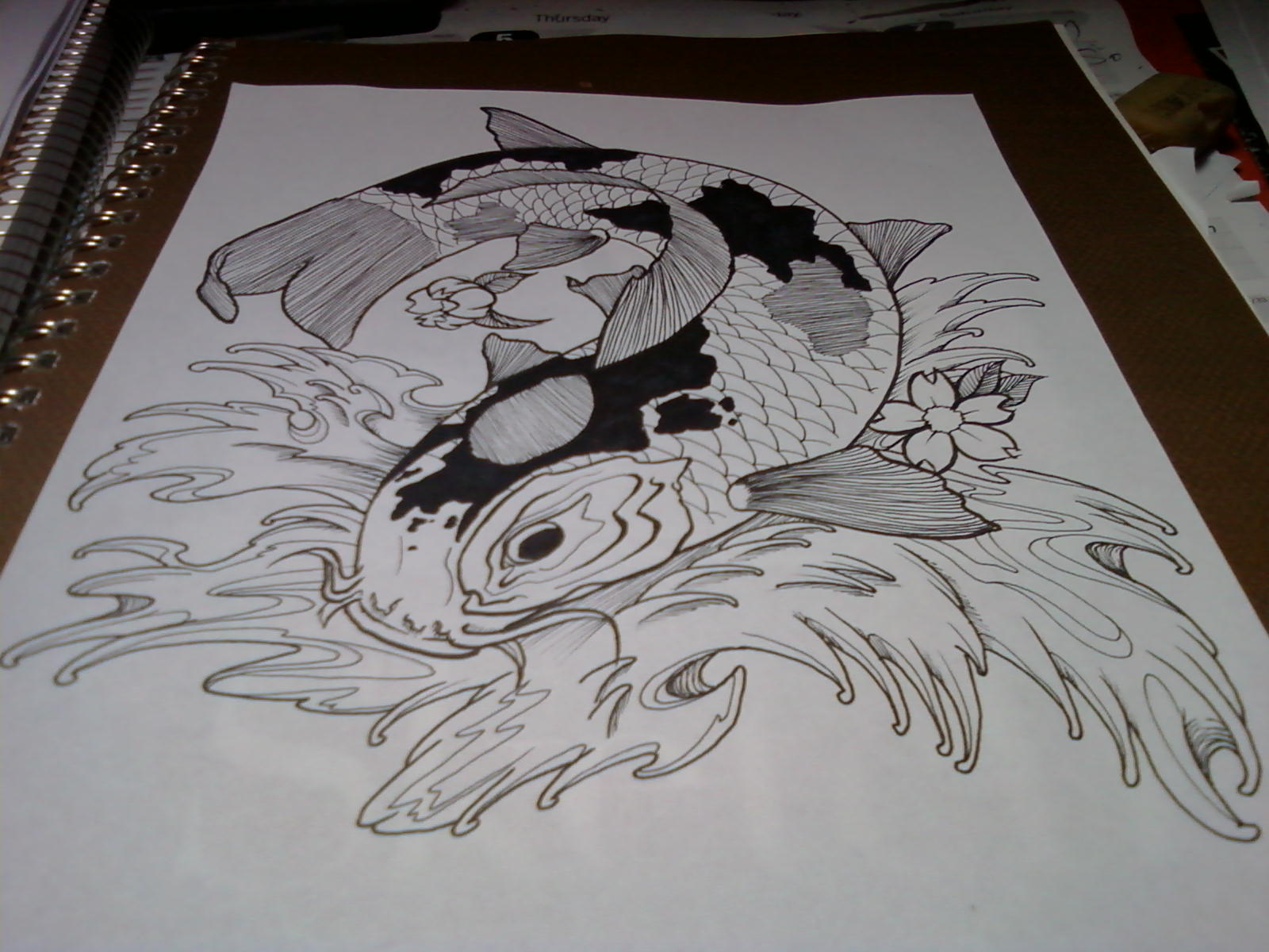 Realistic koi fish drawing color for Koi fish sketch