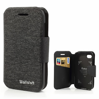 Wallston Filament Grain Leather Case Wallet with Card Slot for BlackBerry Q5 - Black