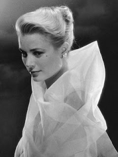 Vintage black and white photo of actress Grace Kelly