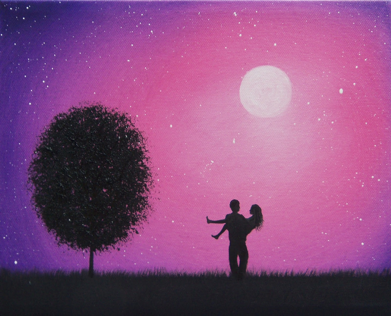 Couple Silhouette Sunset Painting Silhouette Couple Painting