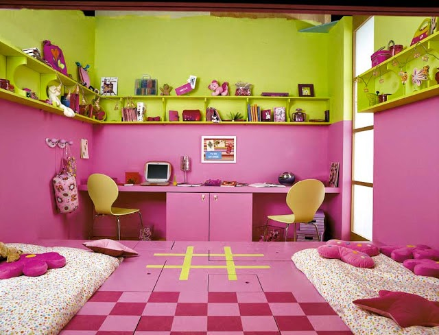 pink painting wall for kids