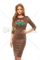 Rochie StarShinerS Brodata Rose Charm Brown (StarShinerS)