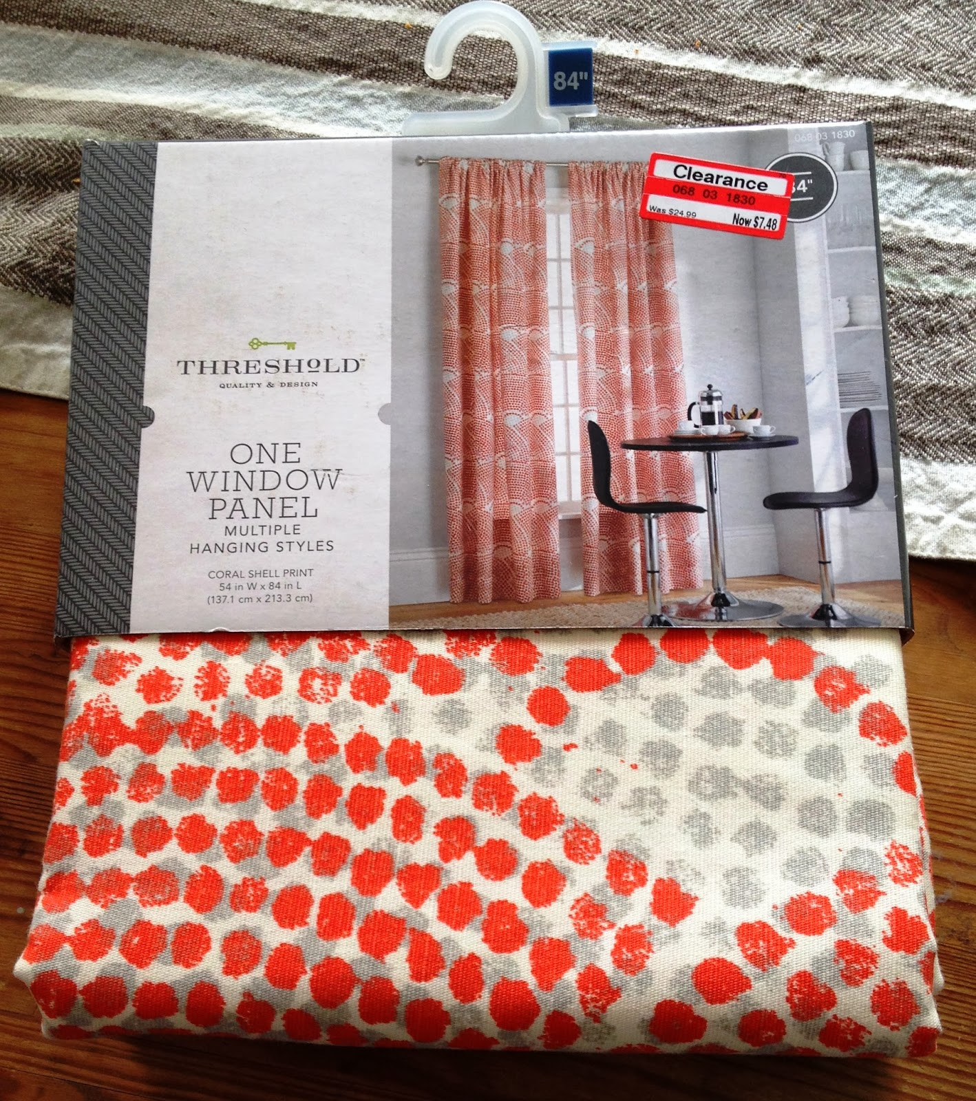 Orange curtains at target - Inspired By This Diy Fabric Wrapped Chest I Found The Coral Shell Drapery Panels On Clearance For Less Than 8 Each And Couldn T Resist Them