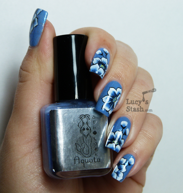 Lucy's Stash - Blue one stroke flowers