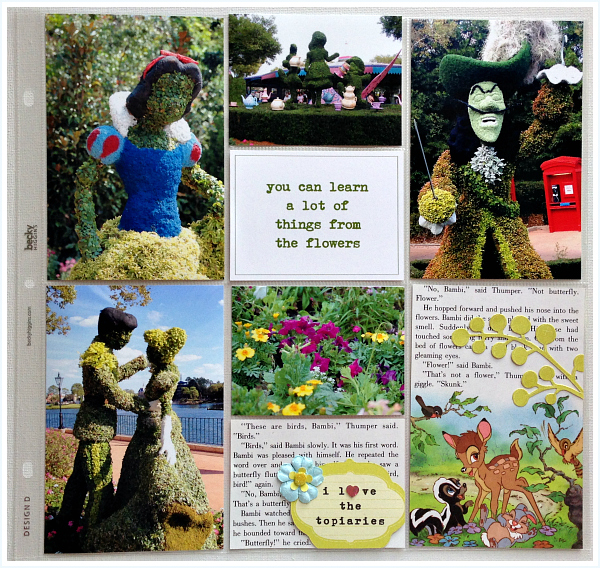 Topiaries, Epcot, Bambi, Alice in Wonderland - Disney inspired memory keeping | www.anyhappylittlethoughts.com