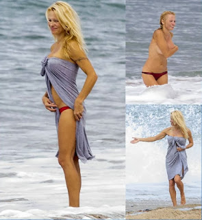 Pamela Anderson Red Bikini Biarritz France