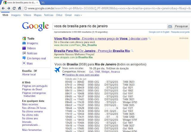 ferramenta de agenda de voos do Google