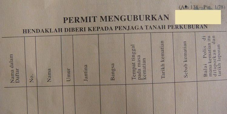 Permit Menguburkan Ini Untuk Bagi Kat Orang Yang Incharge