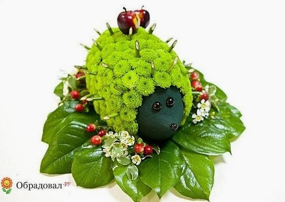 hedgehog flower arrangement