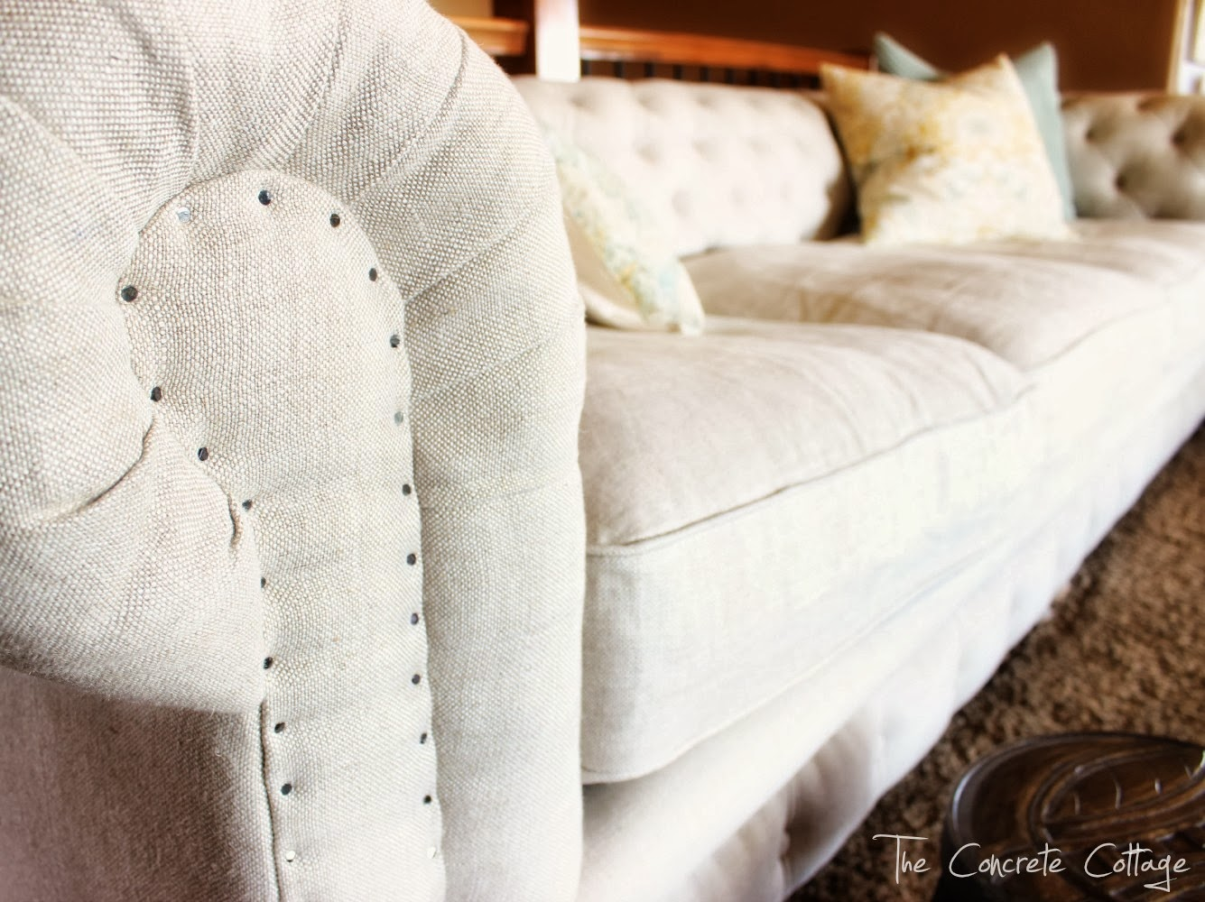 The Concrete Cottage Meet my Linen Chesterfield