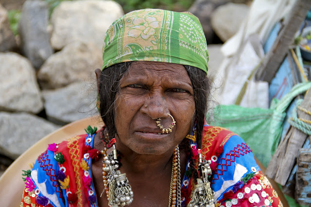 gypsy lady, indian nose ring, embroidered clothing