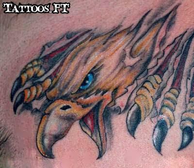 fotos da tatuagem Aguia rasgando a pele