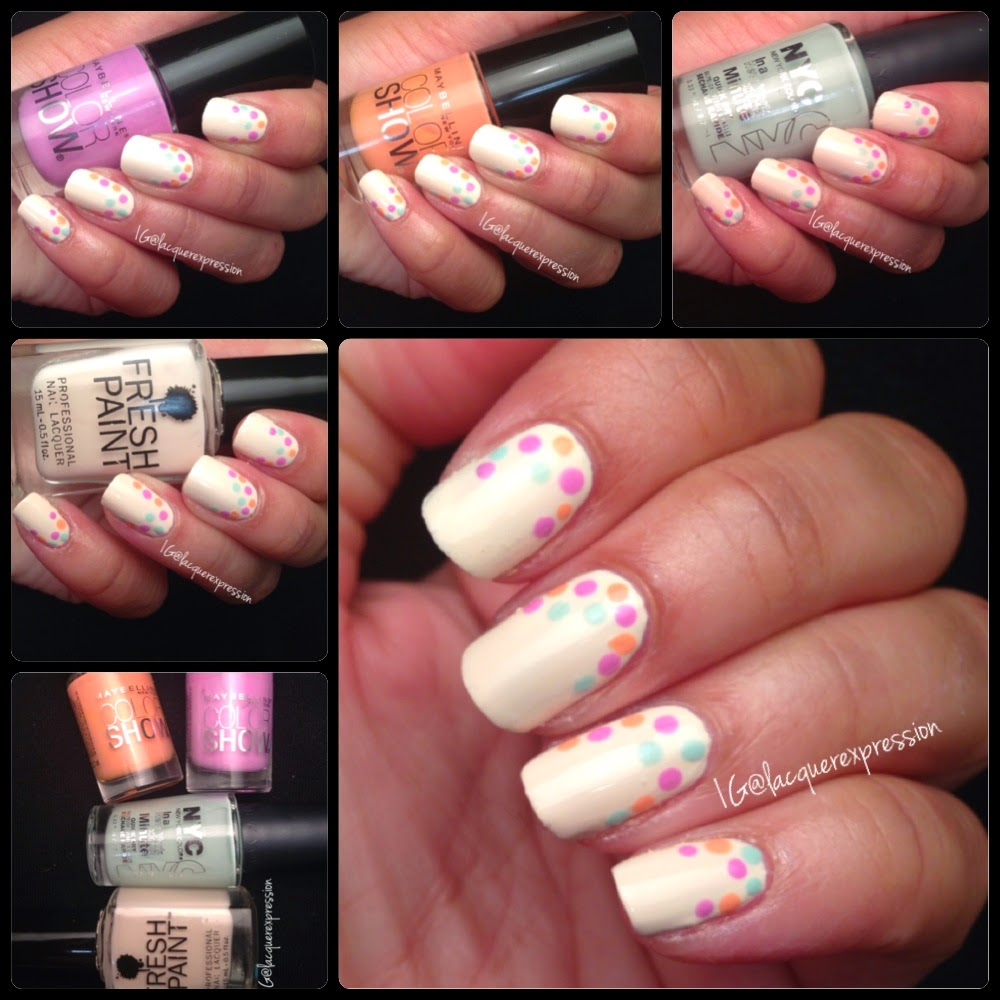 Reverse French Dotticure using Coconut nail polish by Fresh Paint Lust for Lilac and Pretty in Peach pastel polish by Maybelline and Robin's Egg Blue by New York Color NYC