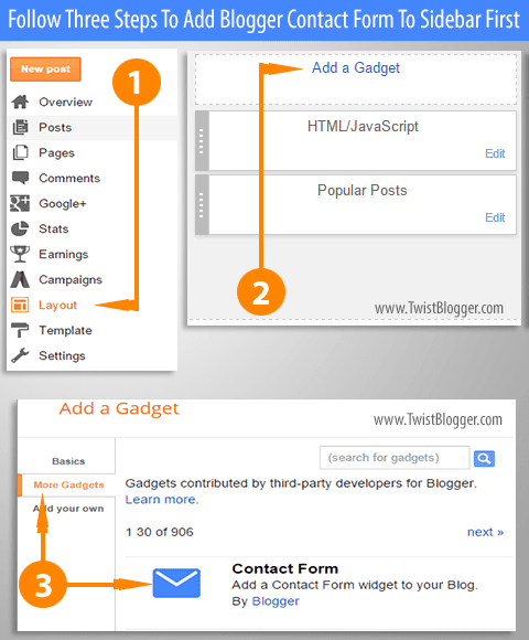 Adding Contact Form Gadget From Gadgets Library