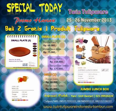 Promo Harian Tulipware 2 Free 1 | 25 - 26 November 2013