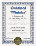 Ordained Minister Certificate.