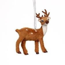 Brown Fur Deer Donner and Blitzen Ornaments for Christmas
