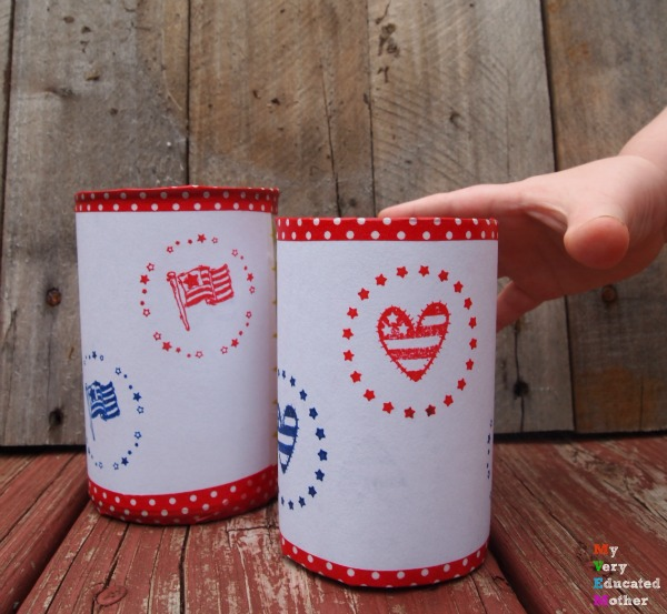 Little fingers really wants to grab one of these before I take a picture! Patriotic Tin Can Candle Holders