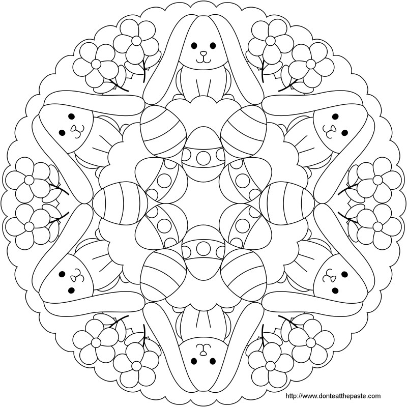 Dont Eat the Paste Easter Bunny and Egg Mandala to Color