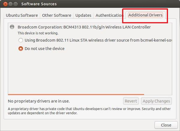 additional drivers Ubuntu 12.10