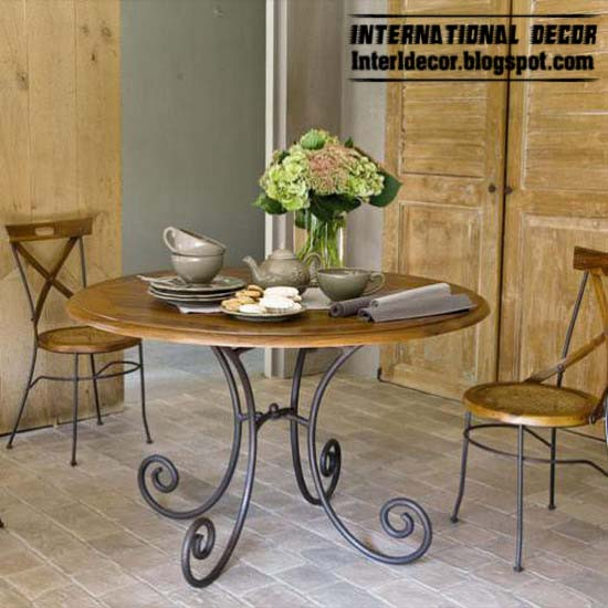 wrought iron dining chairs ,table, iron forged furniture designs for dining  room