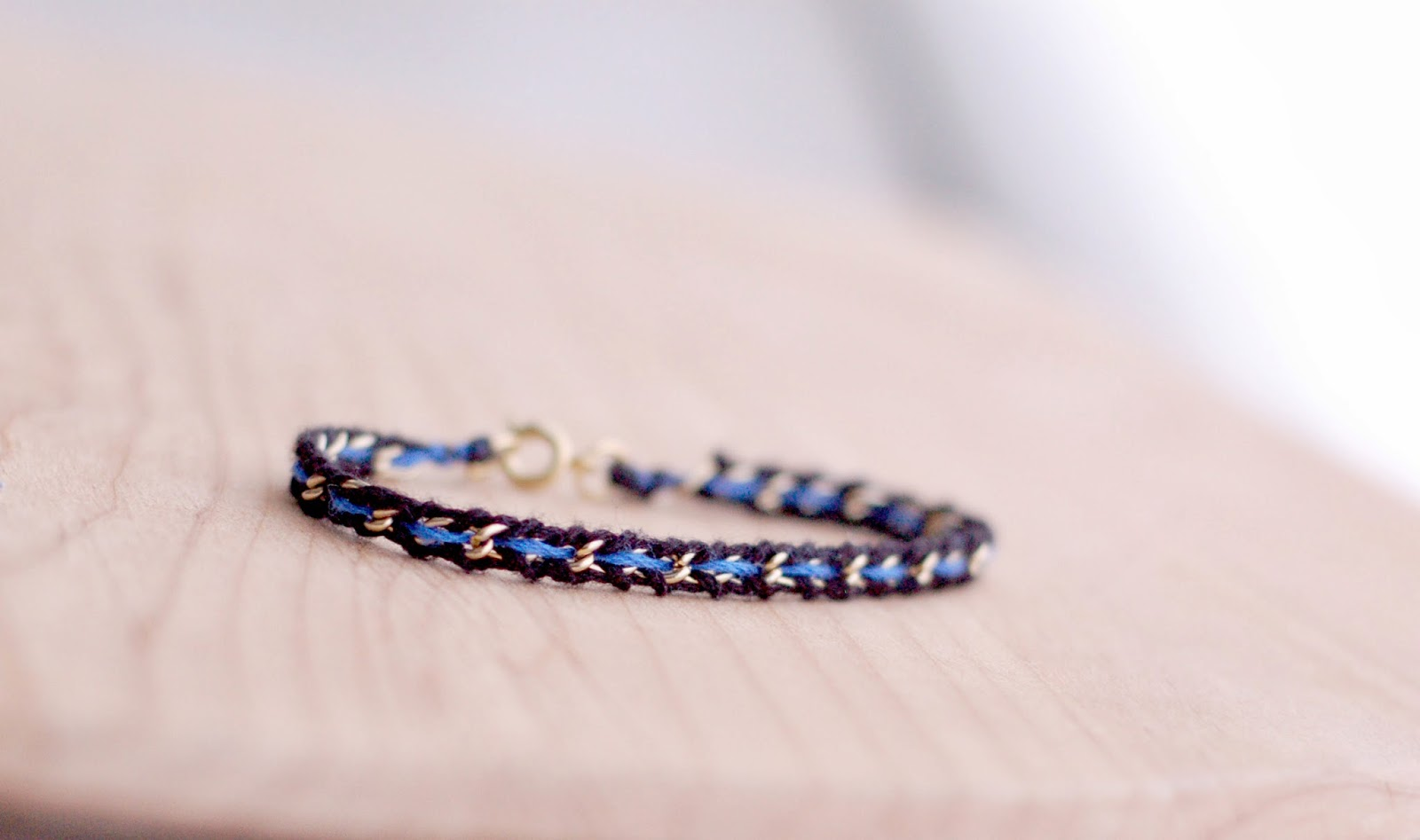 Delicate And Feminine Thin Blue Line Bracelet Made From Vintage Gold Chain With Black