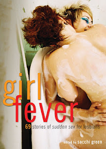 Cover of Girl Fever shows two young, light-skinned women in a tub, covered in soap suds. A redhead is straddling and kissing the neck of a blond, who has her eyes shut and is laughing.