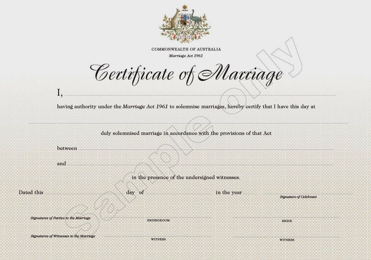 Certificate of Marriage - Civil Ceremonies - Sample Copy