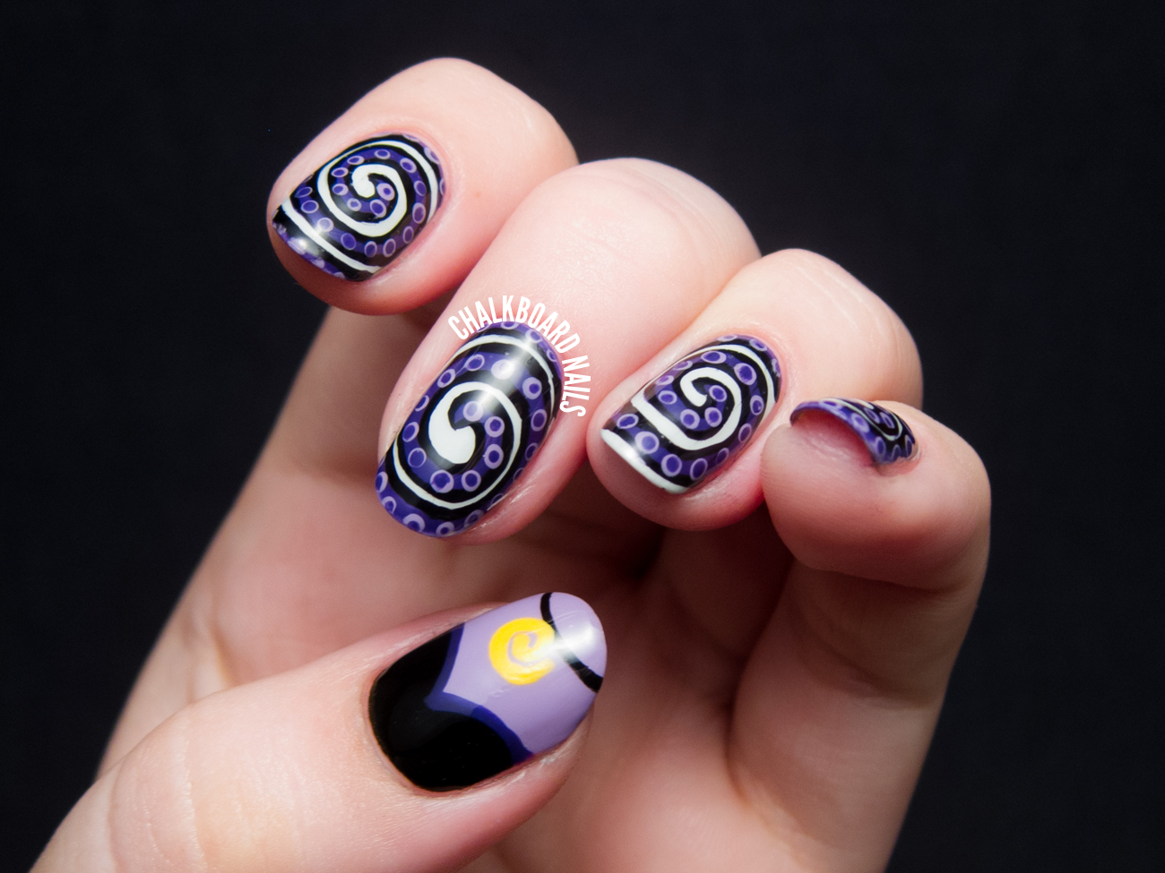 The Disney Diva - Ursula Nail Art | Chalkboard Nails | Nail Art Blog