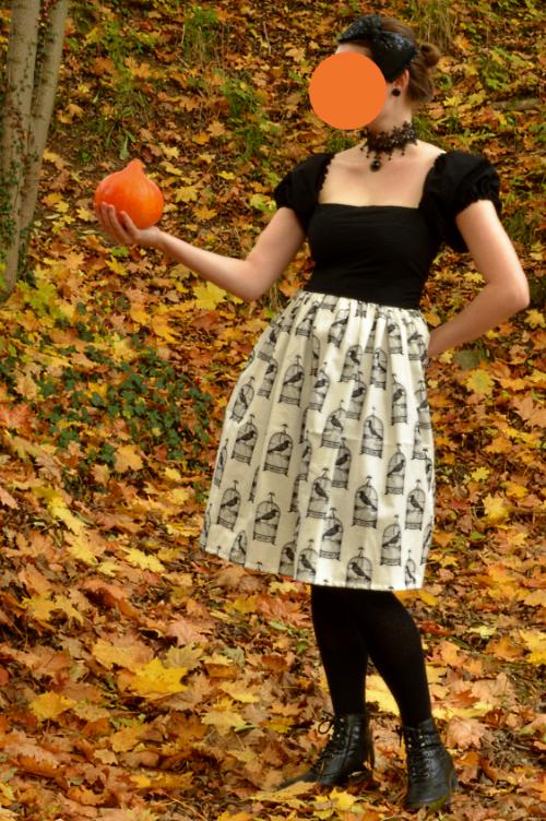 halloween, handmade, dress, diy, raven, edgar allan poe, horror, lolita, japanese, style, autumn, black, white