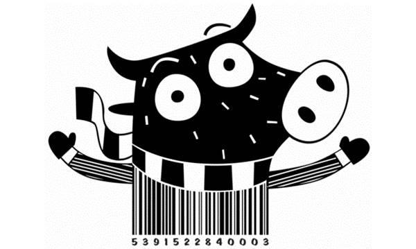 barcodes kreatif kartun lembu