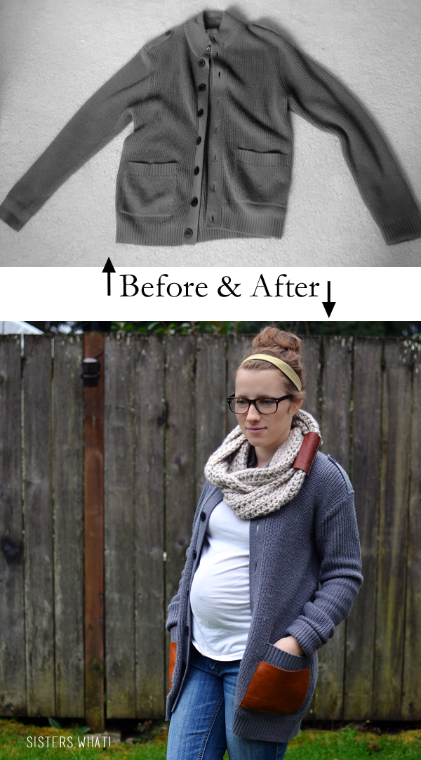 a refashioned men's sweater with leather pockets