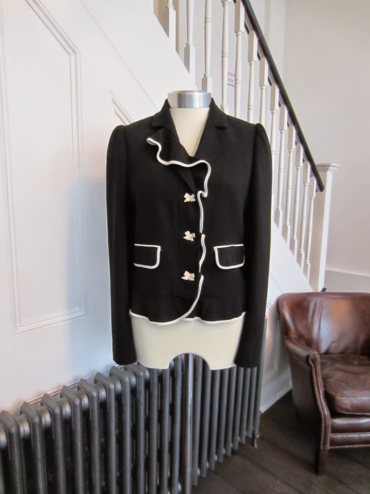 Red Valentino Black Crepe Jacket with White Trim