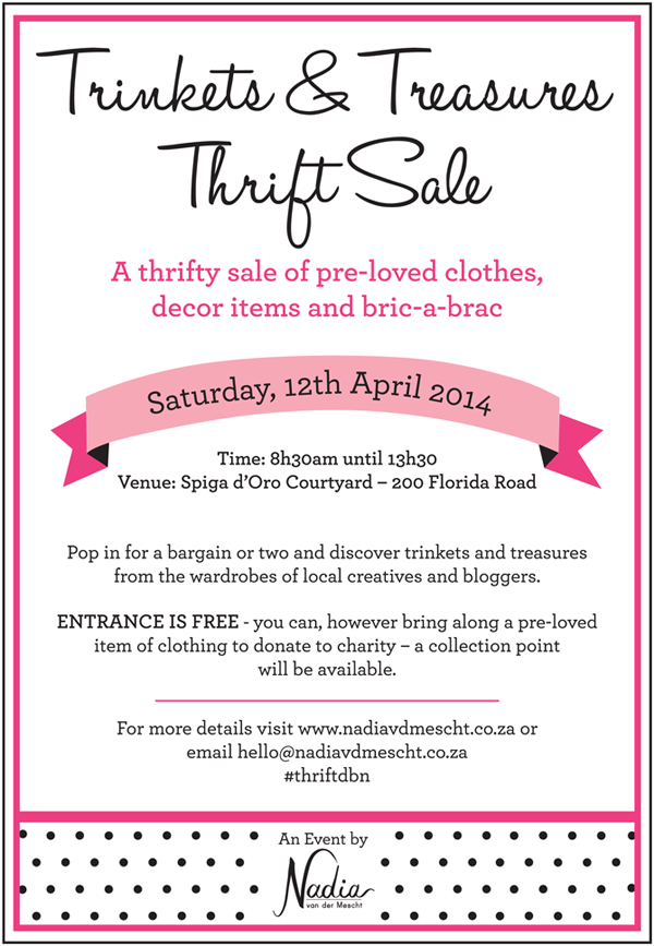 Trinkets & Treasures Thrift Sale at Spiga D'oro, Durban