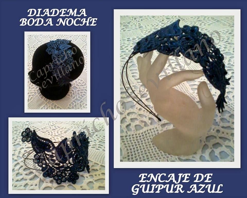 Diadema tocado para boda de noche con encaje de guipur - Diademas de encaje ...