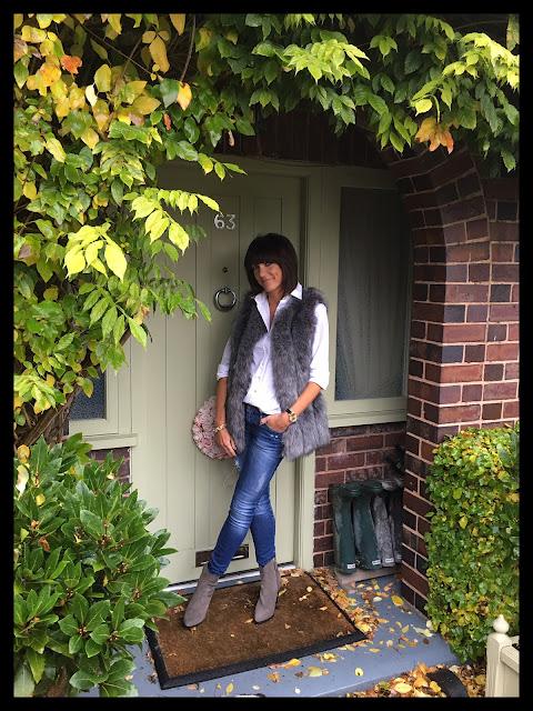 My Midlife Fashion, Faux Fur, Gilet, Massimo Dutti, Skinny Jeans, Zara Cowboy Boots