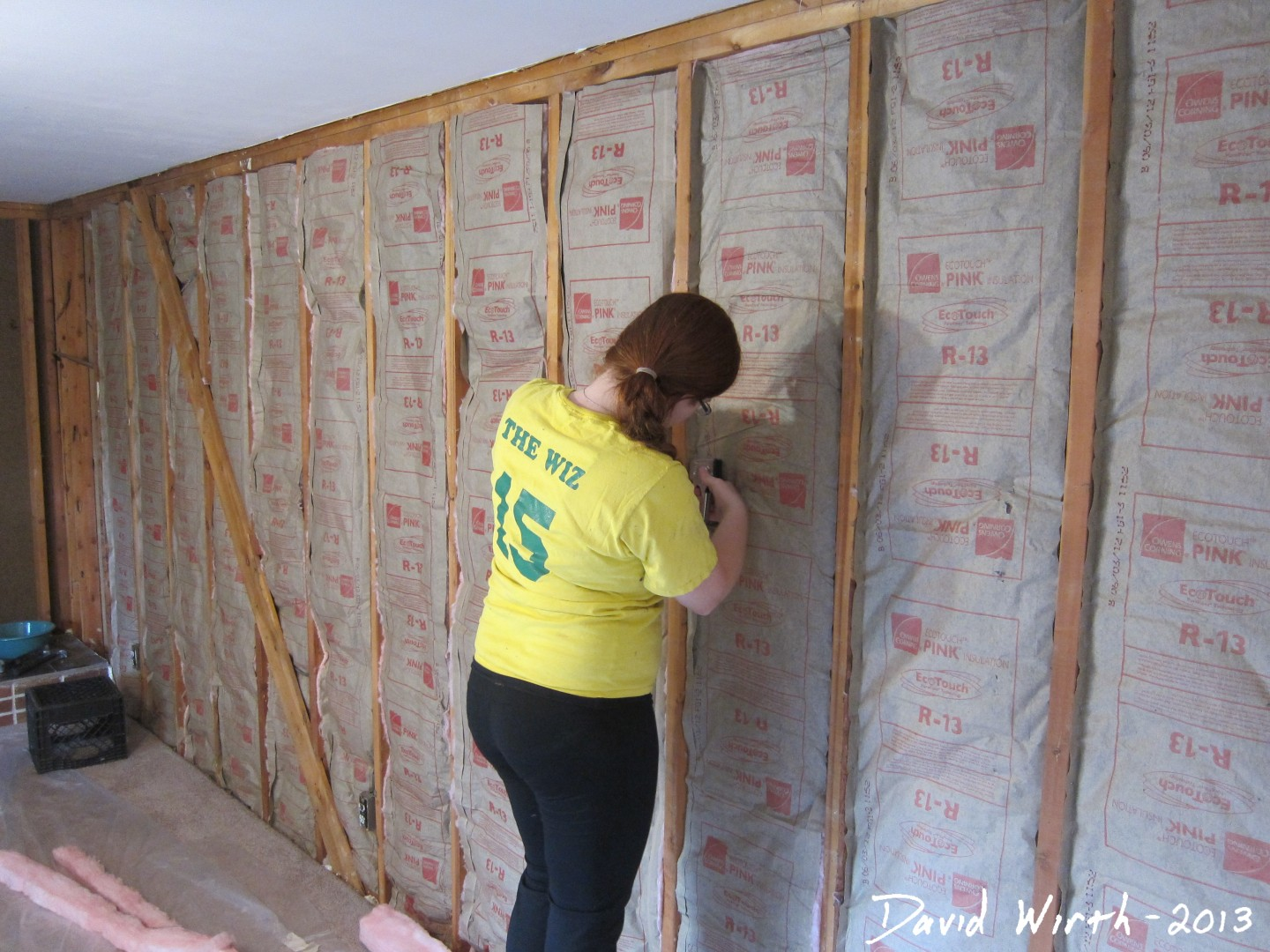 Family room drywall trim crown molding and paint How to add insulation to exterior walls