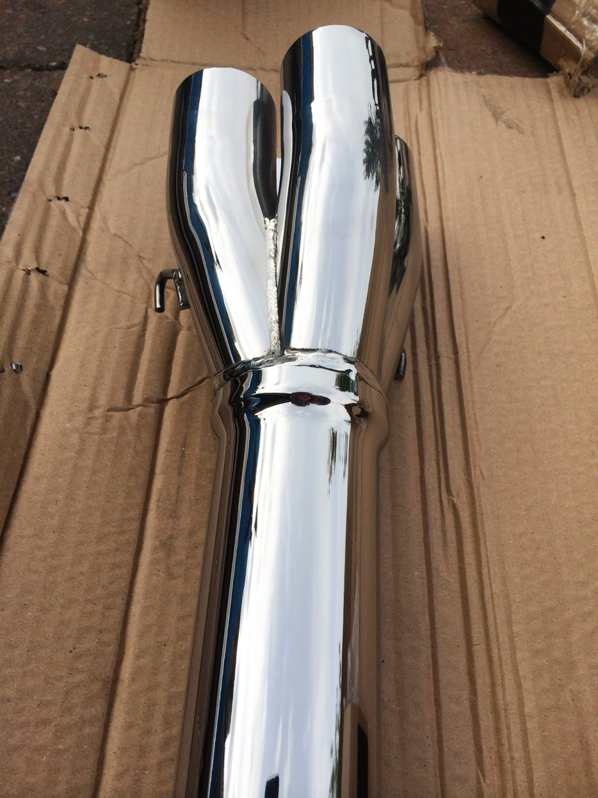 Freshly polished Caterham R500 Duratec Cat Bypass Pipe.