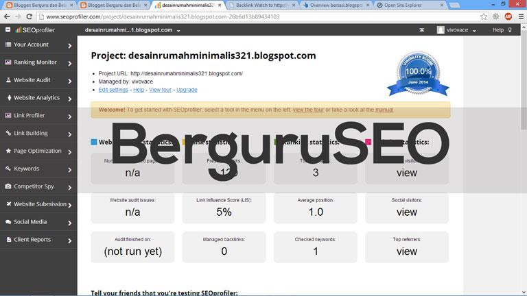 Cara Cek Backlink Web Blog dengan SEOProfiler