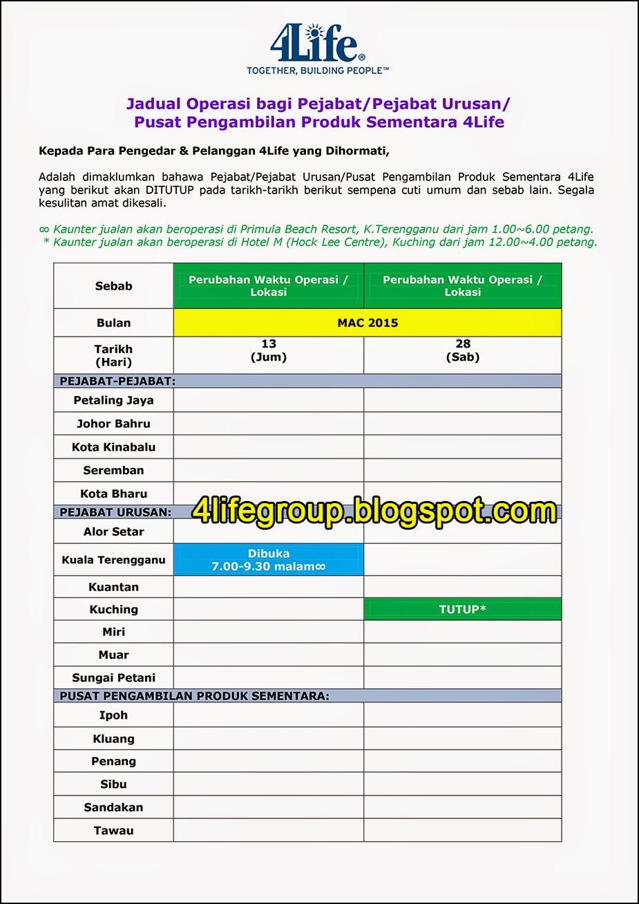 foto Jadual Operasi Bulanan Mac 2015 4Life Malaysia