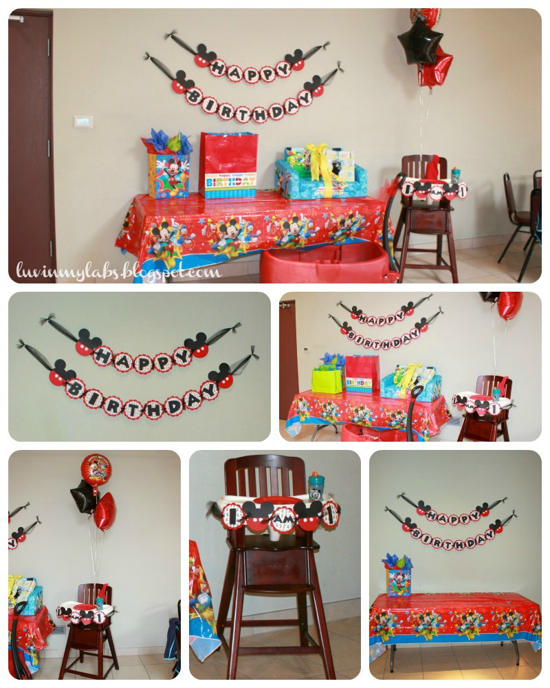 The story of us jackson 39 s mickey mouse themed first for 1st birthday party decoration images