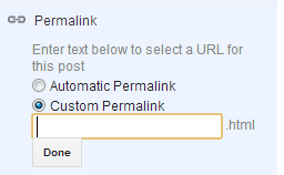 to customize permalink in Blogger