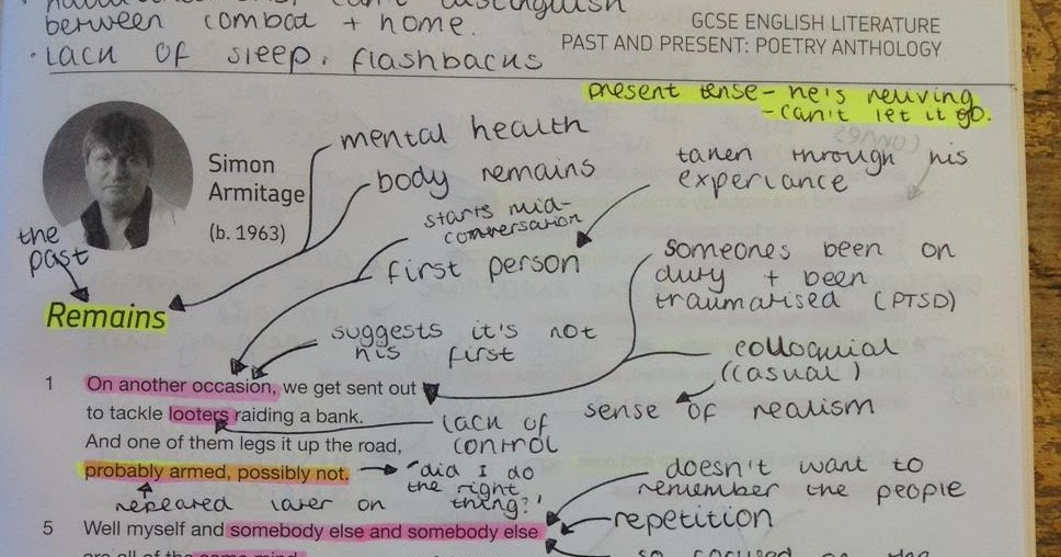 Mr Webb's online classroom: Annotations for Remains by