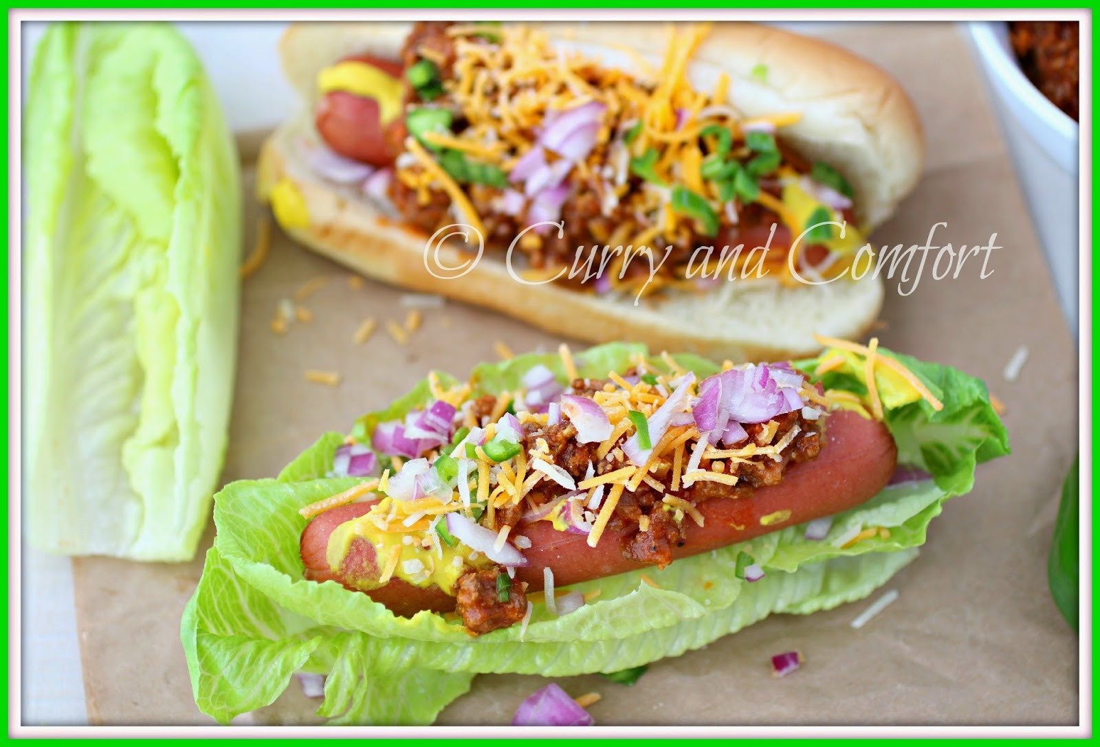 kitchen simmer chili dogs in a lettuce bun low carb. Black Bedroom Furniture Sets. Home Design Ideas