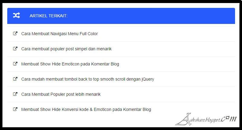 Cara Membuat Artikel Terkait Keren dibawah postingan Blog