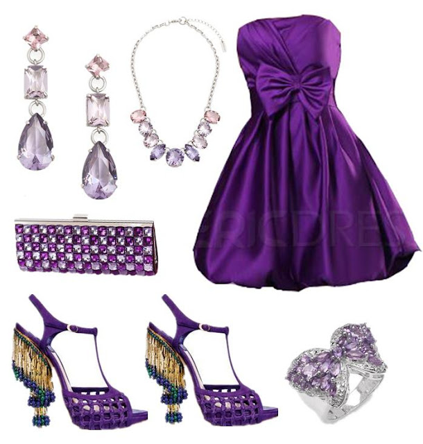 Purple blouse, high heel matching sandals, hand bag and ear rings for ladies