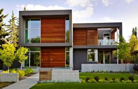 Casas de madeira e vidro modernas