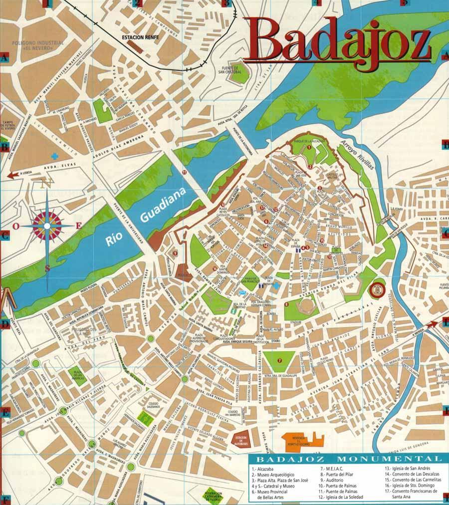 mapa monumentos badajoz