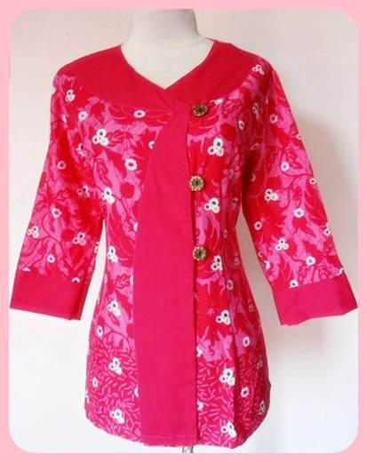 baju batik kantor wanita lengan panjang warna pink