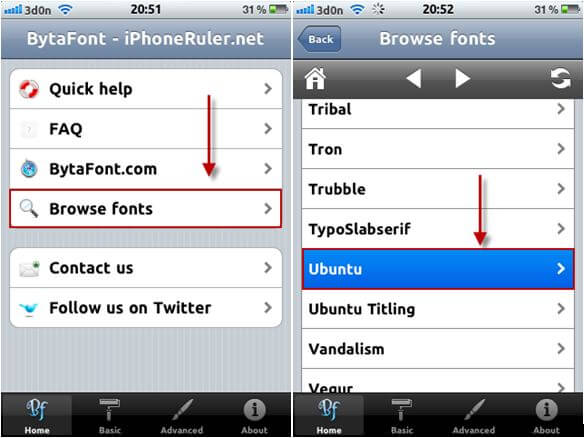 bytafont on iphone 3gs